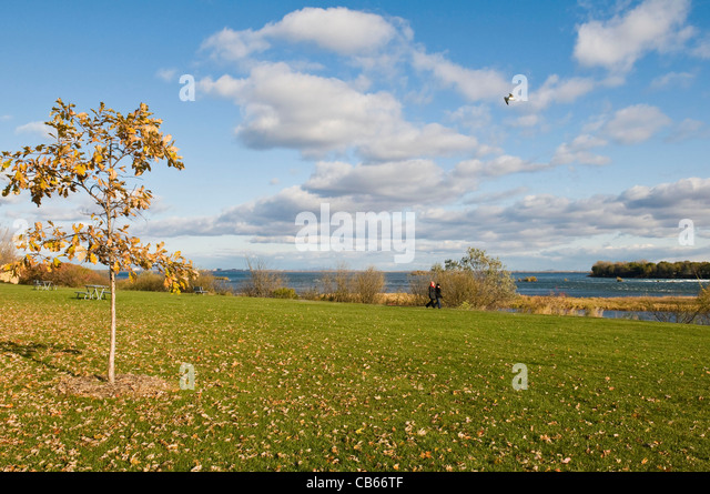 St Lawrence river and park  called The Honourable George O''Reilly park in Montreal Canada - Stock Image