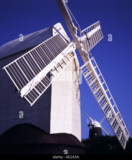 Jill windmill on the South Downs near Brighton, Jack Windmill in background - Stock Image