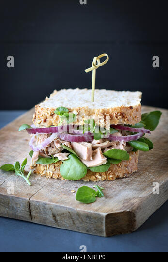 Tuna sandwich with red onion and watercress - Stock Image