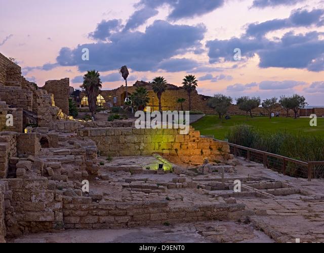 Roman archaeological site in Caesarea, Haifa District, Israel - Stock Image