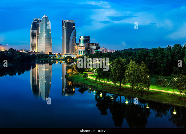 Putrajaya - The Government Capital of Malaysia during twilight. - Stock Image