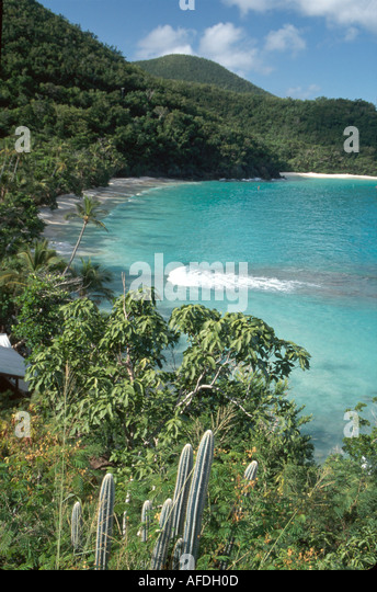 US Virgin Islands St. John Virgin Islands National Park Hawksnest Beach view from North Shore Road USVI010 - Stock Image