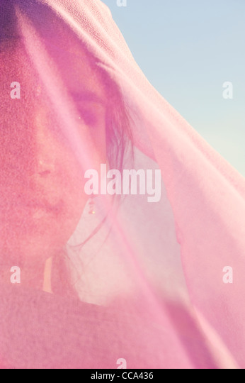 Indian girl wearing pink veil. Andhra Pradesh, India - Stock Image