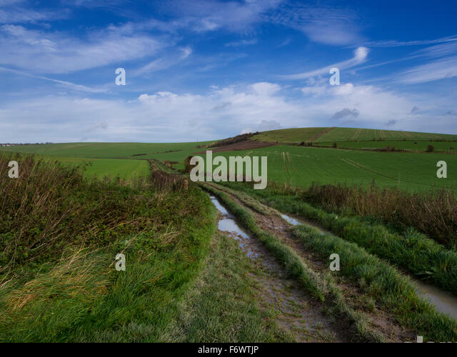 Bridlepath at Wick Bottom from Ovingdean towards Woodingdean, Brighton, Sussex, in the South Downs National Park - Stock Image