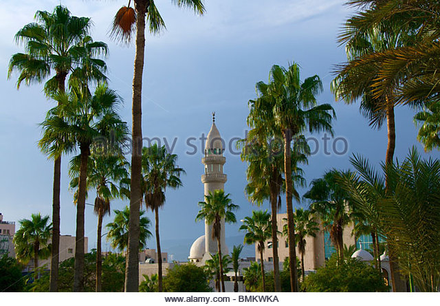 Dawud Sulieman Mosque seen from Princess Haya Park Aqaba Jordan - Stock Image