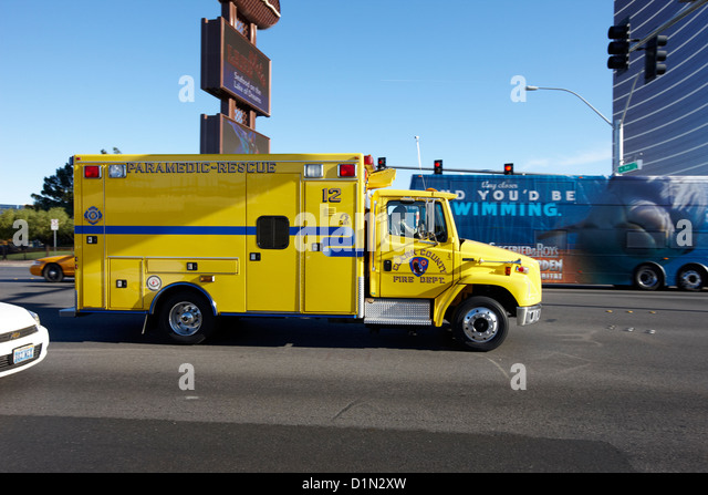 clark county fire and rescue paramedics ambulance Nevada USA - Stock Image
