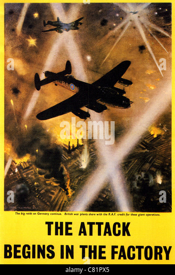 THE ATTACK BEGINS IN THE FACTORY - British WW2 poster showing Lancaster bombers in a night attack on factories - Stock Image