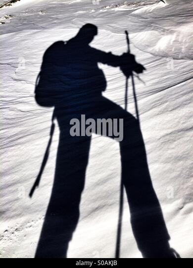 Snow shadow - Stock Image