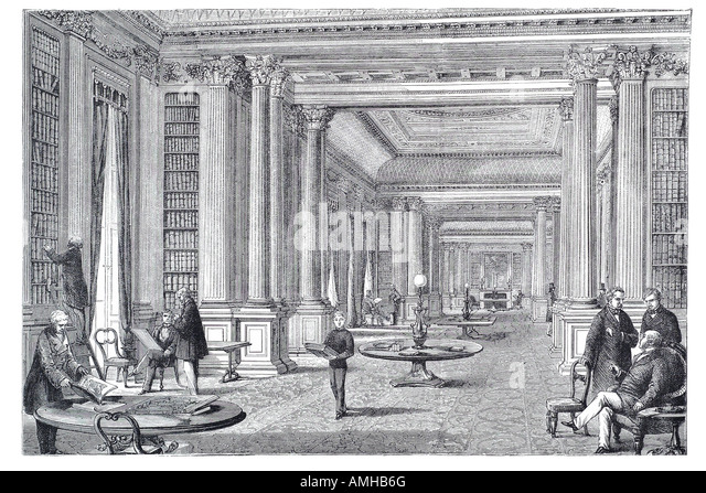 1860 library reform club aristocracy gentlemen Pall Mall Central City royal urban London Greater capital England - Stock Image