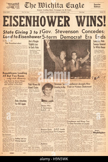 1952 Wichita Eagle (USA)  front page Dwight D Eisenhower elected 34th President of the United States - Stock Image