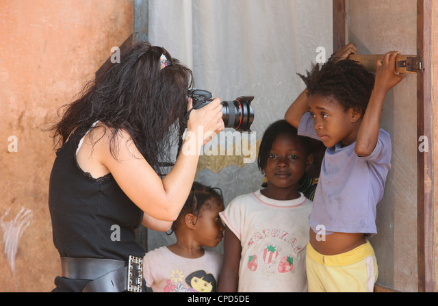 Photographer working in Africa, Lome, Togo, West Africa, Africa - Stock Image