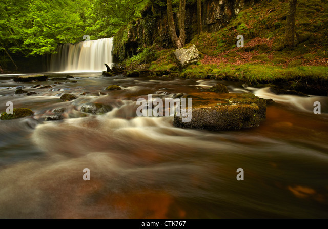 Upper Ddwli falls, river Neath, Neath Valley, Brecon Beacons, Wales - Stock Image