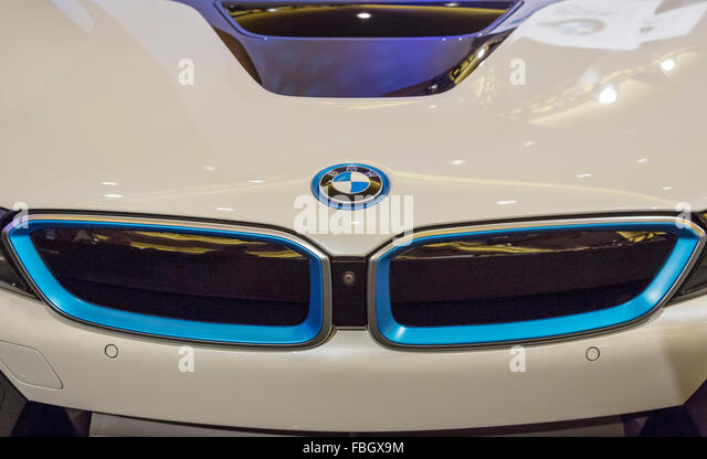 Detroit, Michigan - The BMW i8 plug-in hybrid in a collection of ultra-luxury cars on display during the Detroit - Stock Image