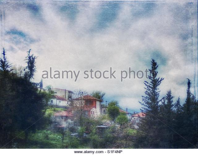 houses on a Mountain' - Stock Image