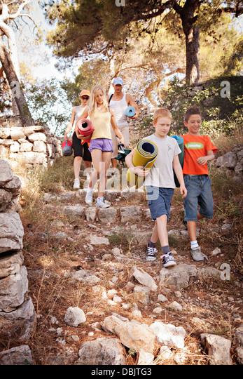 Croatia, Dalmatia, Family Holidays On Camping Site, Arrival - Stock Image