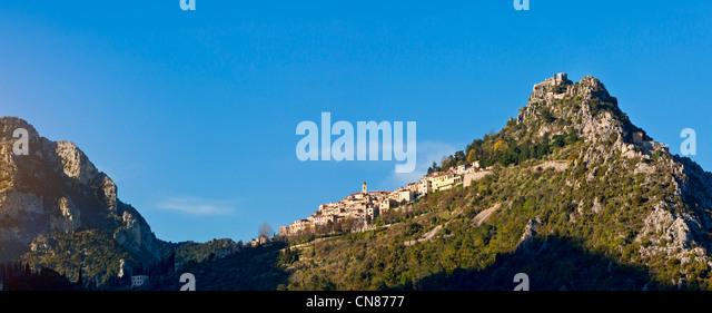 France, Alpes Maritimes, St Agnes, village in the sky, labelled Les Plus Beaux Villages de France ( the Most Beautiful - Stock Image