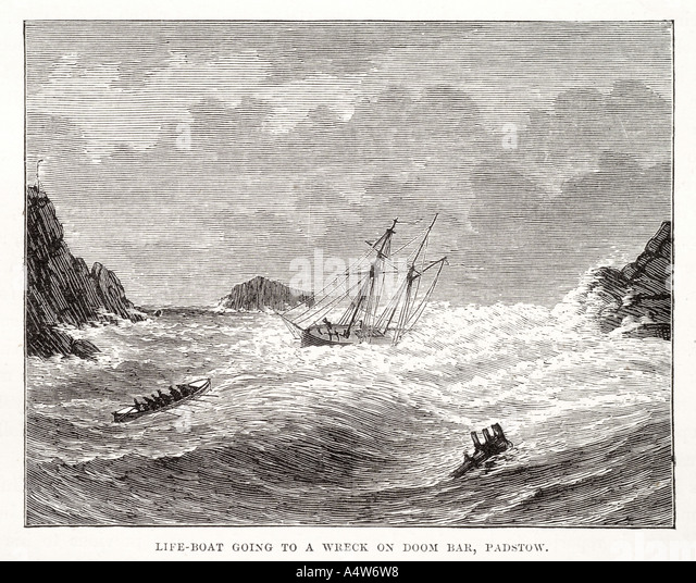 life boat going wreck doom bar padstow storm rescue brave sea coast peril lost wave cliff rock wave wind water sail - Stock Image