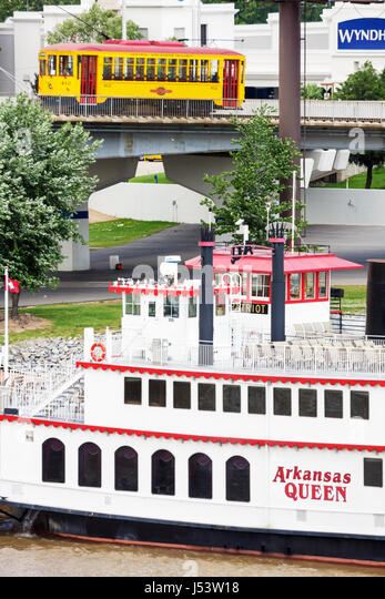 Arkansas North Little Rock Rail Electric Streetcar Arkansas River Arkansas Queen steamboat paddlewheel historic - Stock Image