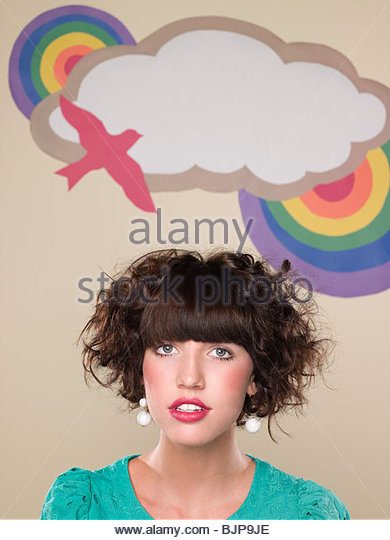 Girl and backdrop - Stock Image