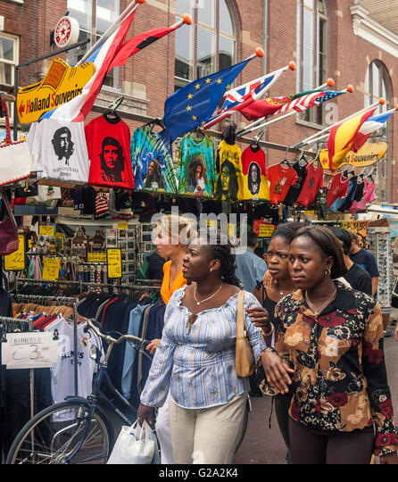 Albert Cyp market, Souvenirs, T Shirts, Amsterdam - Stock Image