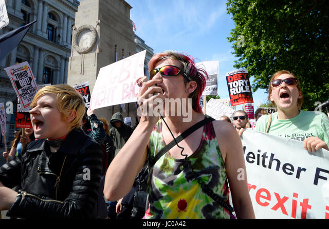 Demonstrators against the Tory DUP alliance marched on Downing Street. London. Angry women. Space for copy - Stock Image