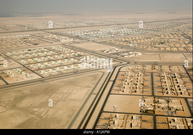 Abu Dhabi 'United Arab Emirates' UAE View looking down onto new housing estate for nationals built in the - Stock Image