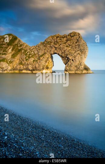 Evening at Durdle Door along the Jurassic Coast, Dorset, England - Stock Image