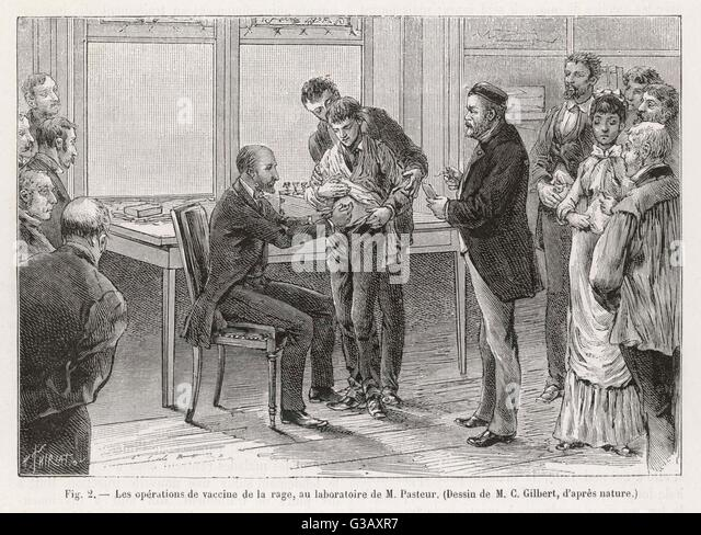 Louis Pasteur (1822 - 1895),  French chemist and  microbiologist, supervises a  vaccination against rabies in  his - Stock Image