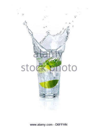 Lime drink splash - Stock Image