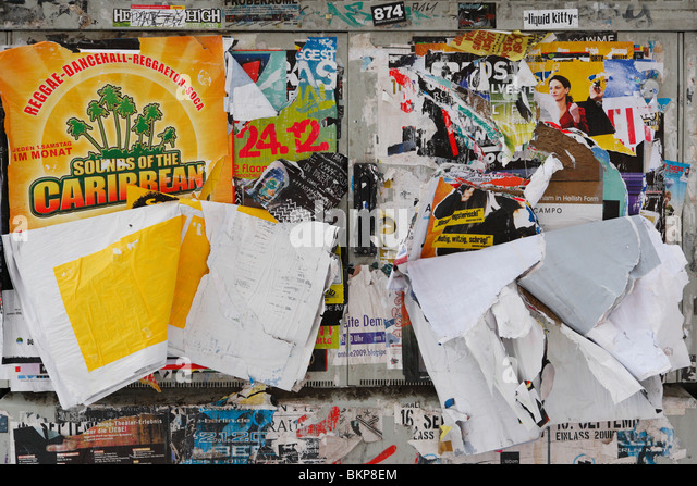 illegal billboard wall on public space - Stock Image