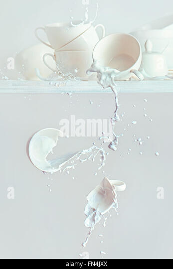 Spilled milk - Stock Image