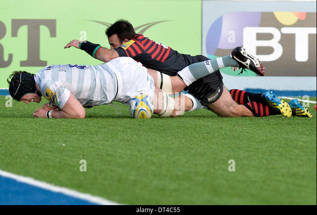 08.02.2014 AVIVA Rugby Premier League Saracens v London Irish at Allianz Park Hendon London UK Geroge Skivington - Stock Image