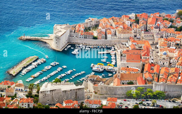 Dubrovnik old town, elevated view to harbor, Croatia - Stock Image
