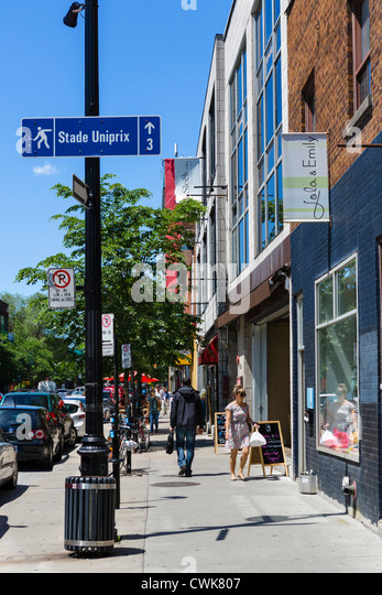 Shops on Boulevard Saint-Laurent in the Plateau Mont-Royal district north of Rue Sherbrook, Montreal, Quebec, Canada - Stock Image