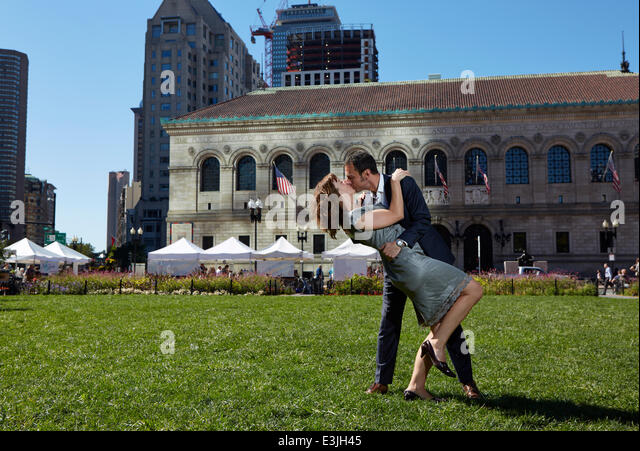 Couple Kissing in Copley Square, Boston, USA - Stock Image