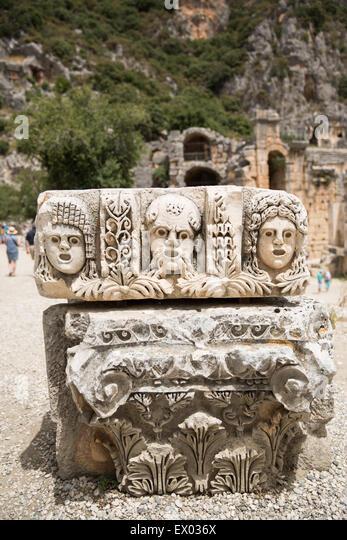 Carving in ancient ruins myra stock photos