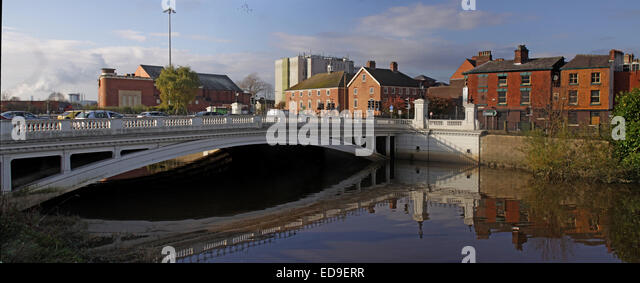 Bridge Foot Warrington & River Mersey panorama reflection Cheshire England UK - Stock Image