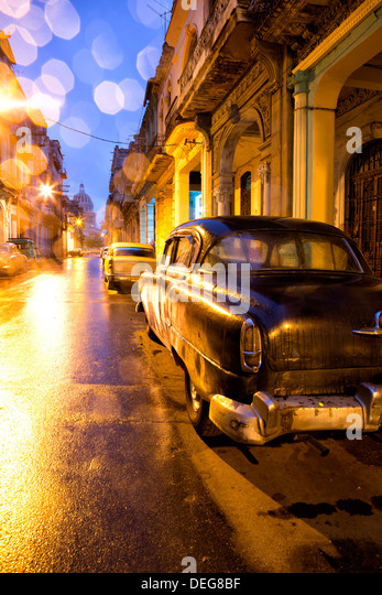 Low light view towards The Capitolio, Havana Centro, Havana, Cuba, West Indies - Stock Image