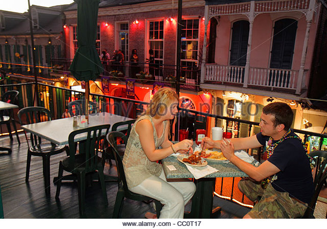New Orleans Louisiana French Quarter Bourbon Street Johnny White's Pub & Grill restaurant dining drinking - Stock Image