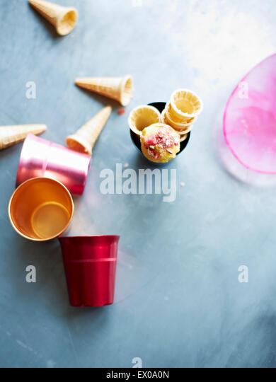 Still life of mini gelato ice cream cones - Stock-Bilder