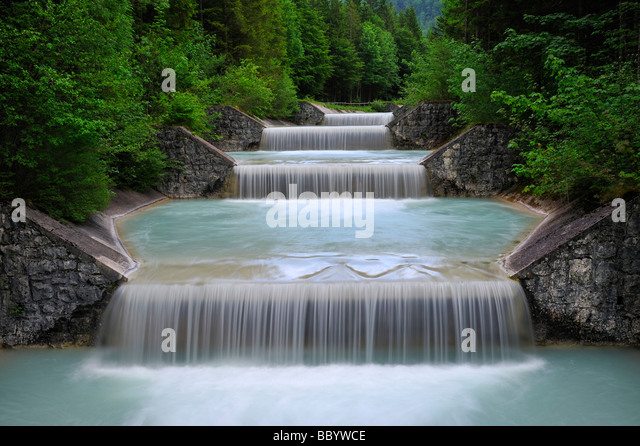 Water overflow of the Niedernach power plant on the Walchensee lake, Jachenau municipality, county Bad Toelz-Wolfratshausen, - Stock Image