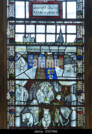 Southwark Cathedral Chaucer window - Stock Image