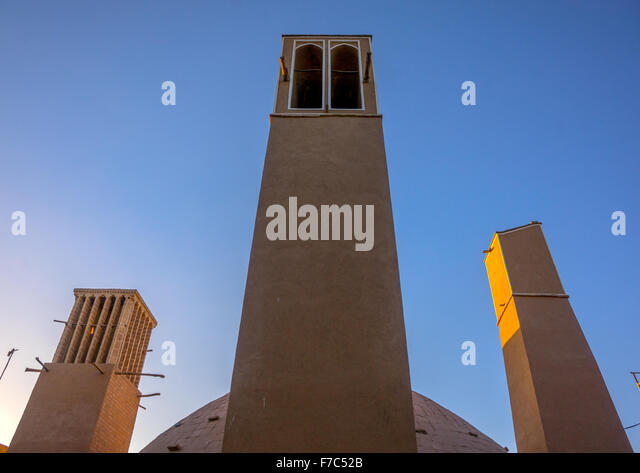 Wind Towers Used As A Natural Cooling System For Water Reservoir In Iranian Traditional Architecture, Yazd Province, - Stock-Bilder