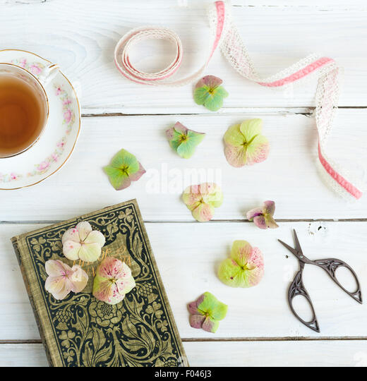 still life with teacup, old book, hydrangea flowers, ribbon and embroidery scissors - Stock-Bilder