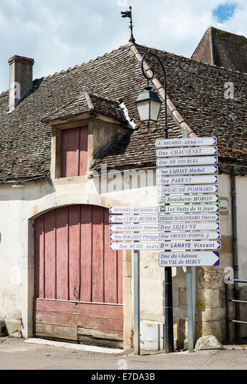 street sign pommard cote de beaune burgundy france - Stock Image