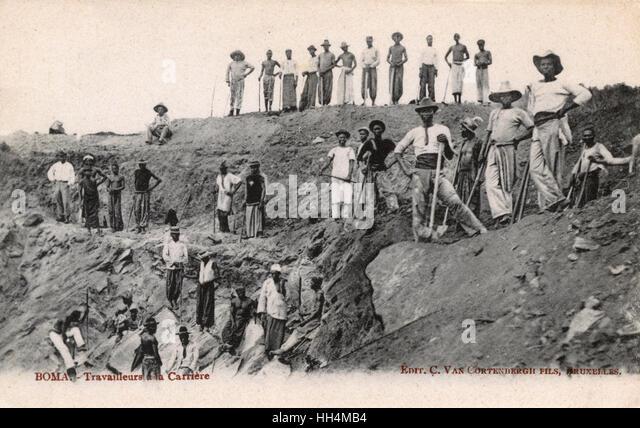 Quarry workers, Boma, Belgian Congo, West Africa. - Stock-Bilder