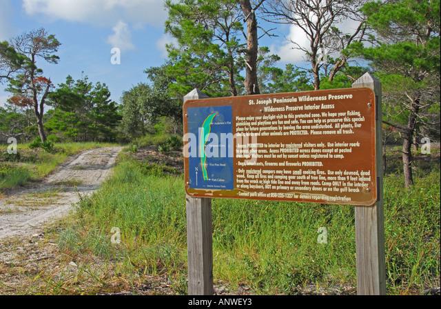 Florida St Joe Joseph Peninsula State Park Wilderness Preserve Trailhead - Stock Image