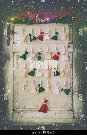Handmade Advent calendar - Stock Image