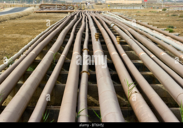 Gas and Oil pipelines in Bahrain - Stock Image