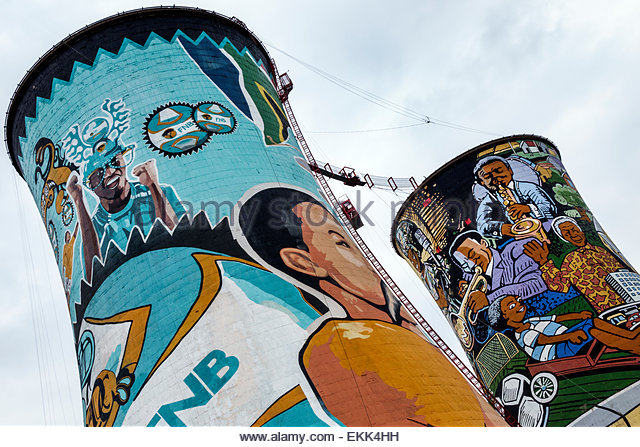 South Africa African Johannesburg Soweto Orlando Cooling Towers Skyriders Bungee Jumping repurposed giant mural - Stock Image